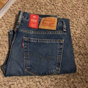 Pair of men's Levi 559 relaxed straight jeans.